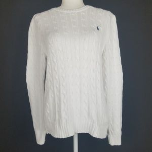 Polo Ralph Lauren White Cable Knit Sweater.